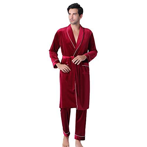 Set de 2 pcs Pijama para Hombre Conjuntos Albornoz Manga