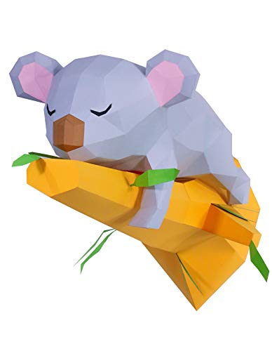 Kit DIY schlafender Koala auf dem Ast Papercraft Kit Wandtrophäe Pappe 3D Origami Skulptur 3D Puzzle 3D Kinderdeko VORGESCHNITTEN