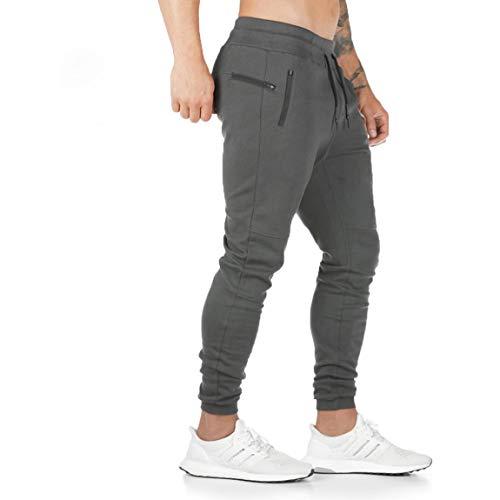 ZOXOZ Pantaloni Tuta Uomo Pantaloni Sportivi Uomo Cotone Leggero Pantaloni Fitness Gym Palestra Uomo Pantalone Stretti Grigio L