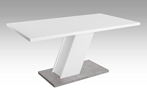 lifestyle4living Esstisch, Tisch, Küchentisch, Esszimmertisch, Säulentisch, rechteckig, matt weiße Tischplatte und Gestell, Boden Betonoptik