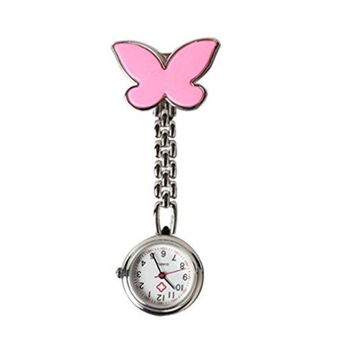 BelongsU Enfermera Reloj de Bolsillo Broche Fob Doctor Butterfly Aleación Reloj de Bolsillo con Pin de Clip, Rosa