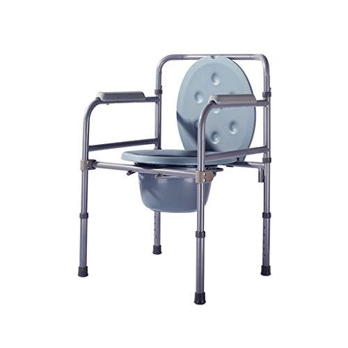 M-JJZX Folding KopfendeCommode Stuhl Edelstahl Ältere Toilette Stuhl Mit Toiletteneimer Höhenverstellbarer Toilettenstuhl for Schwangere Frauen Und Behinderte Badezimmer Schlafzimmer