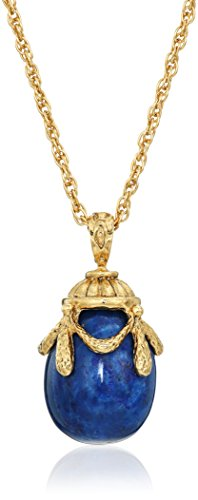 1928 Jewelry 14k Gold-Dipped Semi-Precious Blue Lapis Egg Pendant Necklace, 30