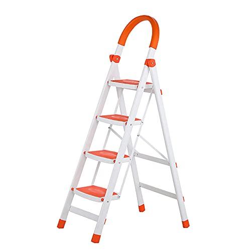 Escalera Plegable De 4 Escalones, Escalera De Acero Antideslizante PortáTil Con Apoyabrazos De Esponja En Forma De U, Escalera Multiusos Para El Hogar, Soporte Para Flores, Zapatero,Carga 150 Kg