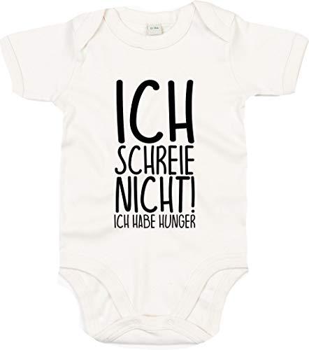Kleckerliese Baby Body Sprüche Jungen Mädchen Kurzarm mit Motiv Ich Schreie Nicht! Ich Habe Hunger, OrganicNatural, 6-12 Mon