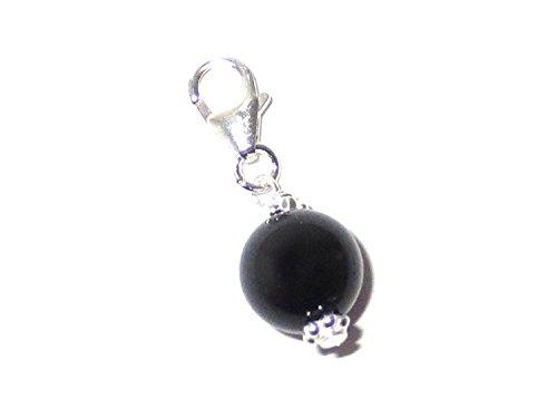 Charm Anhänger mit Edelstein-Perle schwarzer Turmalin (Schörl) echt Silber Kugel für Wurzel Chakra Anhänger Handarbeit
