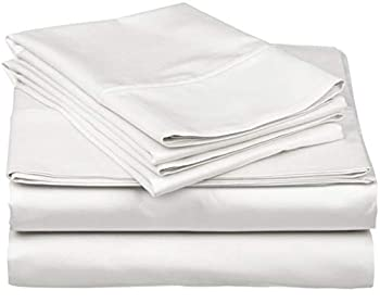 600-Thread-Count Best 100% Egyptian Cotton Sheets & Pillowcases Set - 4 Pc White Long-staple Combed Cotton Bedding Twin XL Sheet For Bed Fits Mattress Upto 18   Deep Pocket Soft & Silky Sateen Weave