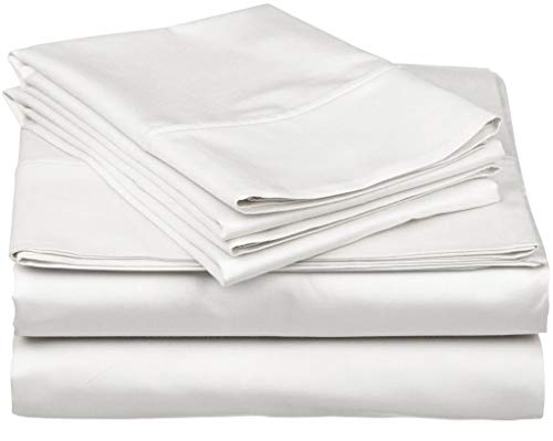 600-Thread-Count Best 100% Egyptian Cotton Sheets & Pillowcases Set - 4 Pc White Long-Staple Combed Cotton Bedding King Sheet for Bed, Fits Mattress Upto 18'' Deep Pocket, Soft & Silky Sateen Weave