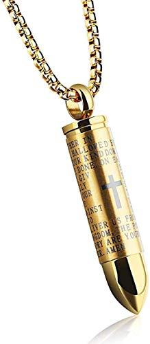 DUEJJH Co.,ltd Collar de policía con Cadena de Encanto de Acero de Titanio, Regalos de Pareja Cristiana, Estrellas de Rapero como Regalos de Colgante de Oro de Hip Hop