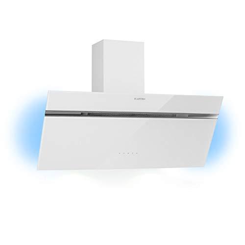 Klarstein Alina Kopffreihaube, 600 m³/h, 3 Stufen, EEK A, RGB Ambiente Licht, Abluf- /Umluftbetrieb, Touch, LED-Beleuchtung, Glasfront, Dunstabzugshaube, Wandhaube, 90 cm, weiß
