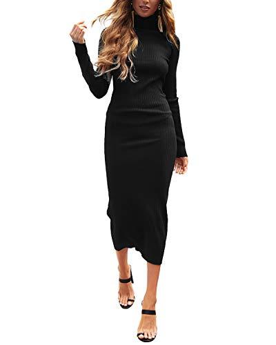 Auxo Bodycon damska sukienka z długim rękawem, z dzianiny, dopasowana, na co dzień, na zimę