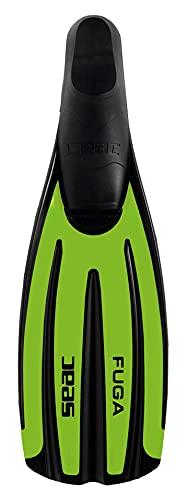 SEAC Fuga Aletas de Buceo y Snorkel Zapatilla Cerrada, Fabricado en Italia, Unisex-Adult, Verde, 42/43