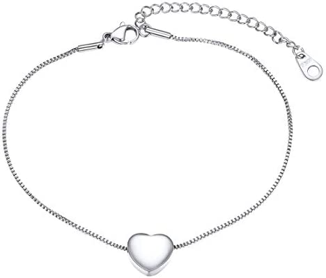 U7 Stainless Steel 1mm Box Chain Anklets Tiny Heart Bracelet Summer Beach Foot Jewelry Anklets product image