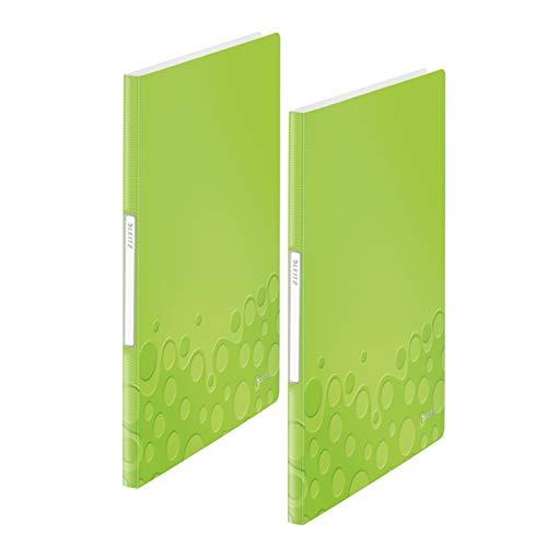 Leitz Sichtbuch wow, A4, PP, 20 Hüllen (grün metallic, 40 Hüllen | 2er Pack)