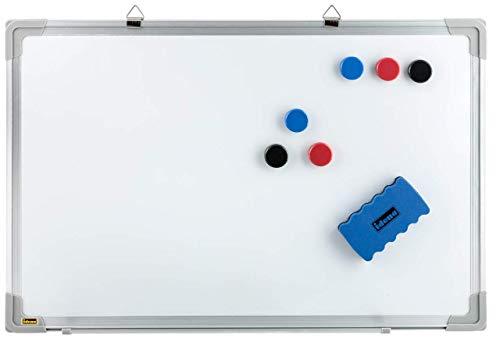 Idena 10414 - Whiteboard mit Alurahmen, ca. 40 x 60 cm, inklusive 6 Magnete und Schwamm, für Büro und zu Hause (ohne Maker, 3)