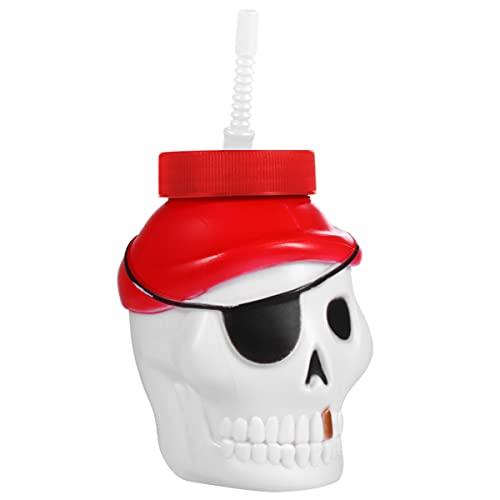 HEMOTON Dibujos Animados de Halloween Taza de Paja Decorativa Cráneo Taza Pirata Botella de Agua Taza de Beber con Paja Taza de Desayuno para Fiesta de Halloween Suministros de Decoración