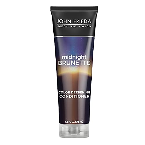 John Frieda Midnight Brunette Visibly Deeper Color Deepening Conditioner, 8.3 Ounce, with Evening Primrose Oil, Infused with Cocoa - Packaging May Vary
