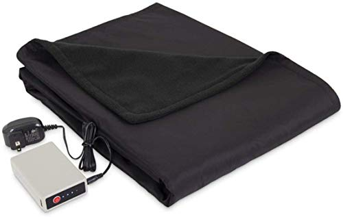 Serta Microfleece Battery Electric Heated Warming Throw Blanket Black