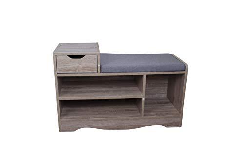 mymai Schuhbank Schuhschrank Schuhregal Schuhaufbewahrung Sitzbank mit Sitzkissen für 6-8 Paar Schuhe gepolsterte Sitzbank Eingangsbereich Flur MDF Holz grau HFH06-HOL