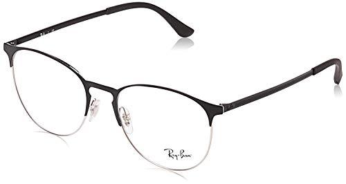 Ray-Ban Unisex-Erwachsene 0rx 6375 2861 53 Brillengestelle, Schwarz (Silver On Top Black)