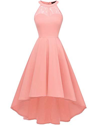 DRESSTELLS Damen 50er Vintage Rockabilly Kleid Neckholder Cocktailkleid Vokuhila Festliche Kleider für Hochzeit Blush L