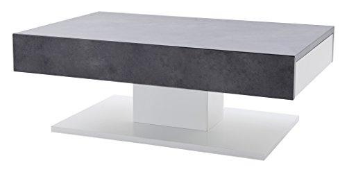 Robas Lund Couchtisch Weiß Matt Wohnzimmertisch mit Betonoptik, Lania BxHxT 110 x 70 x 40 cm