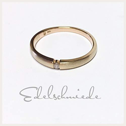 Verlobungsring 585/- Rotgold matt mit Brillant 0,03ct #52