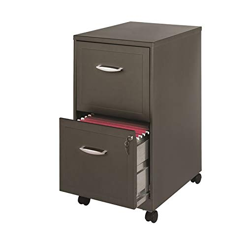 Space Solutions 18' 2 Drawer Mobile Smart SOHO Vertical File Cabinet, Metallic Charcoal