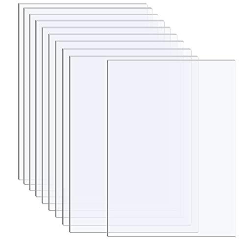 10 pannelli in plexiglass trasparente spessore 0,1 cm, fogli in PET per la sostituzione della cornice di vetro, segnaposto da tavolo, cornice, progetti di artigianato, decorazione (trasparente)