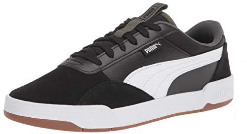 PUMA mens C-skate Sneaker, Black/White, 8.5 Women 10 Men US