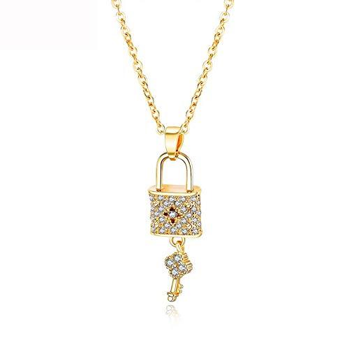 Ningz0l Halsketting voor vrouwen, koper verguld diamant hangslot sleutelgeometrie hanger sleutelbeen ketting vrouwelijk sieraad goud