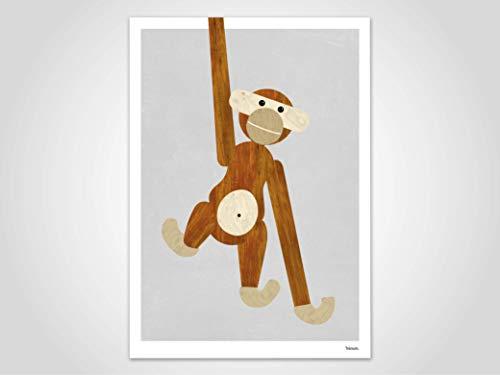 Holzaffe — Poster, Kunstdrucke, Deko, skandinavische Bilder, Poster Kinderzimmer, Pastell Poster, Affe, Tiere, Designaffe, Affe aus Holz, minimalistisch, Low-Poly-Poster, Weihnachten