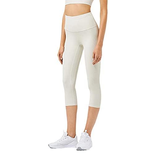 Nude - Pantalones de yoga para mujer de cintura alta, para levantamiento de caderas, deportivos, fitness, blanco brillante, XL