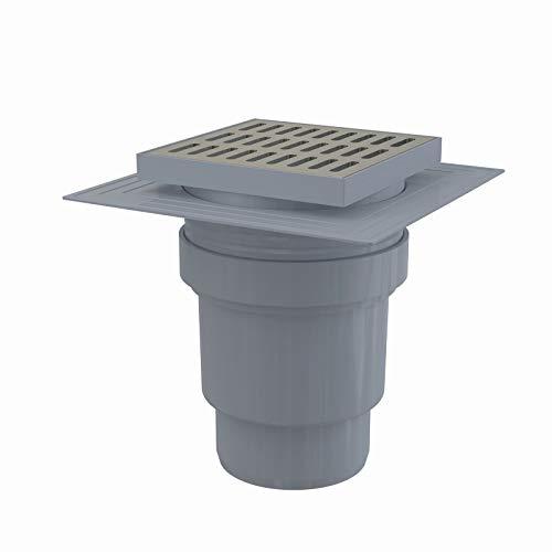Siphon de sol en plastique - 150x150/110 mm - sortie verticale – grille inox, collerette, deux niveaux d'isolation, siphon humide