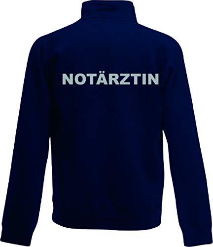 Shirt-ideen.com NOTÄRZTIN/Notarzt Zip Neck Sweat Navy (dunkelblau) mit Brust und Rückenaufdruck in reflexsilber (Notärztin, S)