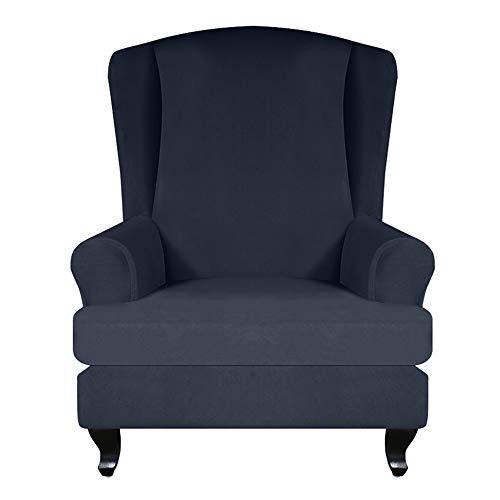 JTWEB Ohrensessel Bezug,Sesselbezug Sessel-Überwürfe Sesselhusse Elastisch Stretch Husse für Ohrensessel (Navy blau)
