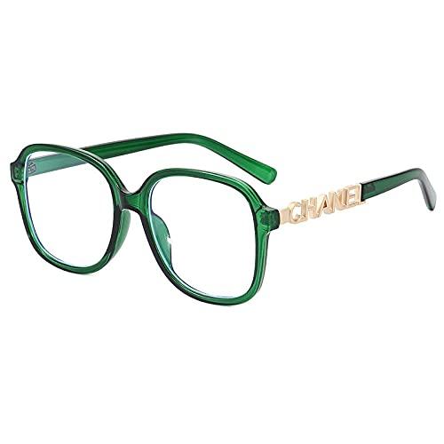 XINMAN Moda Gafas De Sol con Letras Huecas Caja Grande Gafas De Sol Simples Tendencia Personalidad Marco Negro Espejo Plano Marco Verde Luz Plana