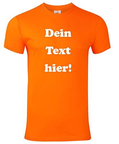 Herren T-Shirt Bedrucken mit dem Amazon Tshirt Designer. T-Shirt selber gestalten. T-Shirt Druck. T-Shirt mit Wunschtext. T Shirts sind Ökotex-100 Zertifiziert. - Orange L