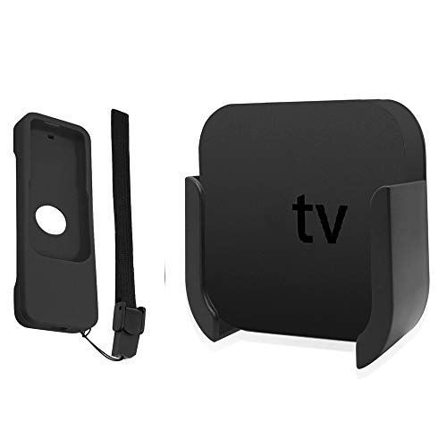Soporte para TV para Apple TV 4ta y 4K 5ta Generación, Soporte de Montaje en Pared con Bonus Remote Case para Apple TV 4th / 4K 5th Gen. ( Negro )