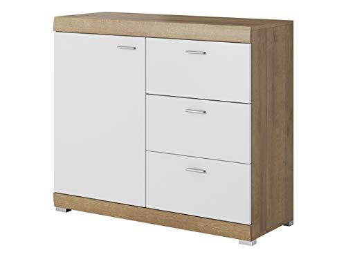 Preisvergleich Produktbild Mirjan24 Kommode Sofia mit 3 Schubladen und Tür,  Highboard,  Anrichte,  Naturtöne,  Sideboard,  Wohnzimmerschrank,  Mehrzweckschrank (Riviera Eiche / Weiß)
