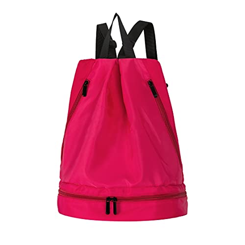 Pretty Jolly Sports Gym Duffel Bag for Women,Waterproof Travel bag with Shoes Compartment and Wet Pocket ,Small Lightweight Carry On Weekend Bag for Swim Yoga Travel Workout Fitness Getaway-Rose Red
