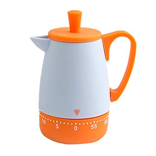 Hemoton Mechanischer Küchentimer Miniatur Orange Teekanne Countdown Alarm Timer 55 Minuten Eieruhren Backen Kochen Lernen Sport Zeitmesser Tragbar Kochhilfe Küchenbedarf Restaurant Zuhause