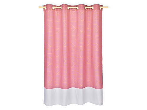 KraftKids Gardine goldene Linien auf Rosa aus 100% Baumwolle, stilvolle Vorhänge mit Ösen, Gardinen 230 cm lang für das Kinderzimmer