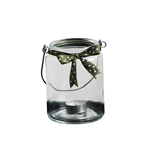 LRHD Bowknot Glass Candlestick,Transparent Glass Small Lantern Candle Holder, Glass Candle Holder for Tealight or Taper Candles, Holder Centerpieces for Wedding Birthday Parties (Color : Dark Green)