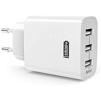 Chargeur USB 3 Ports Universel RAVPower Chargeur Secteur Mural (30W/5V 6A Max) avec Technologie Charge iSmart, Adaptateur Secteur USB Compatible avec iPhone XS/XS Max/XR/ 8 - Blanc