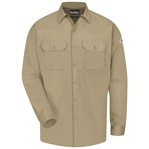 Bulwark Flame Resistant 7 oz Cotton/Nylon Excel FR ComforTouch Long Work Shirt with Sleeve Vents, Lined Cuff, Khaki, Medium