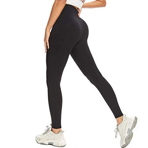 Damen Honeycomb LeggingsYogahose Anti-Cellulite Hohe Taille Yogahosen Booty Lifting Fitness Hose Push Up Booty Leggins Honeycomb Scrunch Fitnesshose Sporthose mit Bauchkontrolle