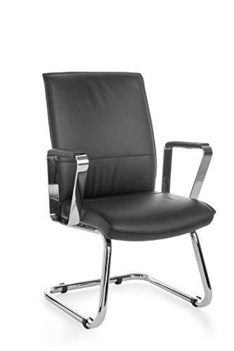 FineBuy Freischwinger VEVO Besucherstuhl Bezug Echt-Leder Schwarz Schwingstuhl Visitor X-XL Chrom 120 kg Meetingstuhl ergonomisch Design...