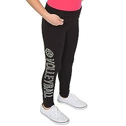 Volleyball Rhinestone Teamwear Foldover Full Length Cotton Leggings