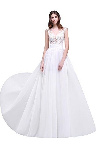 Babyonline® Elegant Damen Rückenfrei Brautjunfernkleider Ärmellos Spitze Chiffon Hochzeitskleid Brautkleid Bodenlang Kleider Elfenbein 38
